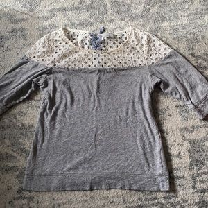 Anthropologie 9-H15 STCL S Grey Eyelet Terry Top